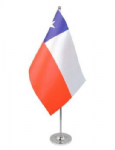 Chile Desk / Table Flag with chrome stand and base.